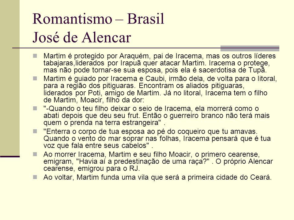 Romantismo – Brasil José de Alencar Martim é protegido por Araquém, pai de Iracema, mas os outros líderes tabajaras,liderados por Irapuã quer atacar M