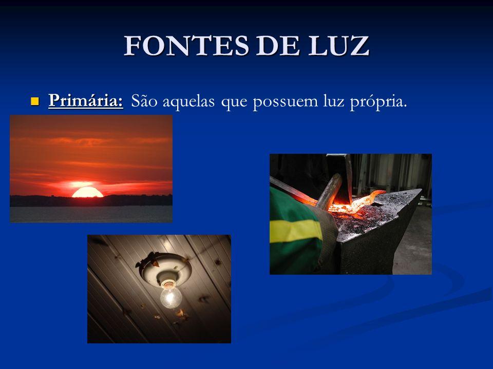 FONTES DE LUZ Primária: Primária: São aquelas que possuem luz própria.