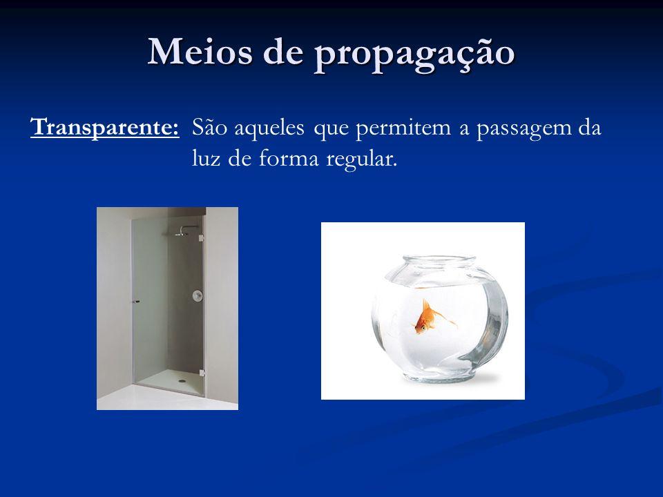 Meios de propagação Transparente:São aqueles que permitem a passagem da luz de forma regular.