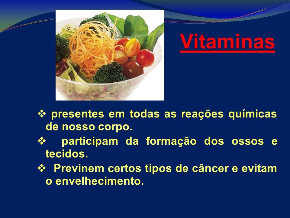 Vitaminas presentes em todas as reações químicas de nosso corpo. participam da formação dos ossos e tecidos. Previnem certos tipos de câncer e evitam