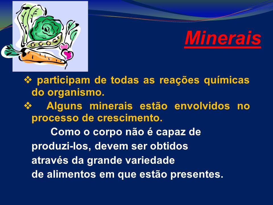 Minerais participam de todas as reações químicas do organismo. Alguns minerais estão envolvidos no processo de crescimento. Como o corpo não é capaz d