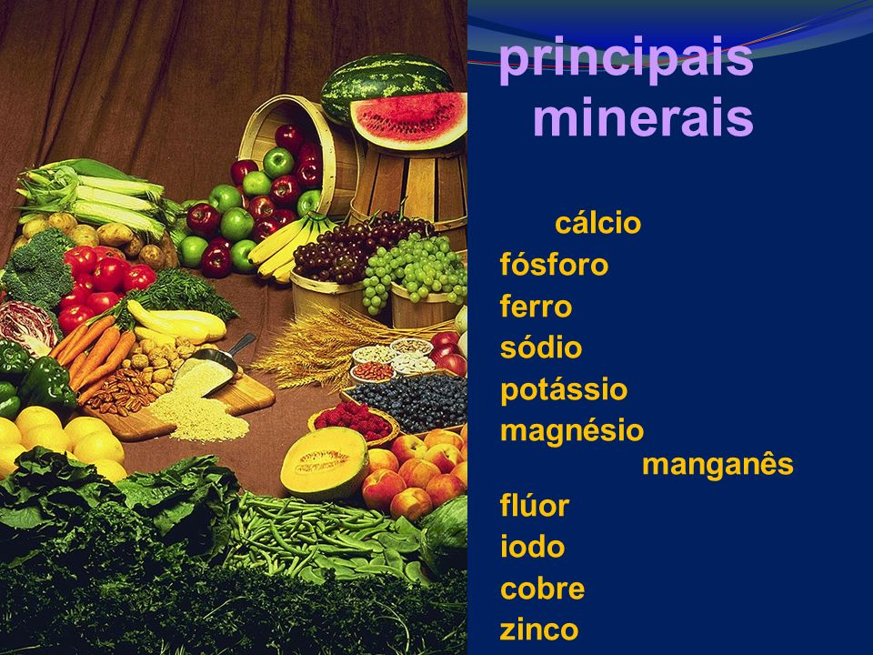 principais minerais cálcio fósforo ferro sódio potássio magnésio manganês flúor iodo cobre zinco