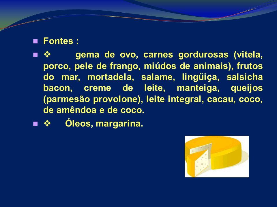 Fontes : gema de ovo, carnes gordurosas (vitela, porco, pele de frango, miúdos de animais), frutos do mar, mortadela, salame, lingüiça, salsicha bacon