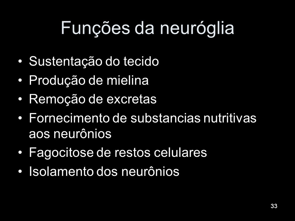 32 Células da Glia Também chamadas de neuróglia Menores que os neurônios Mais numerosas Várias funções: