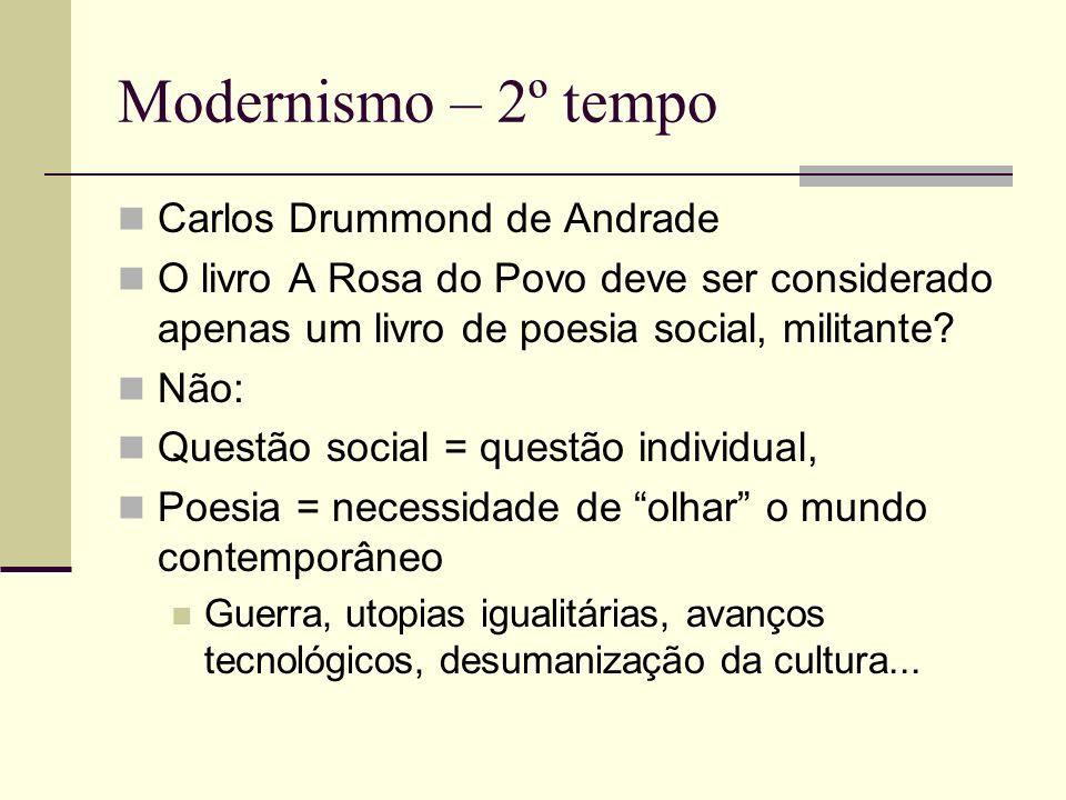 Modernismo – 2º tempo Carlos Drummond de Andrade O livro A Rosa do Povo deve ser considerado apenas um livro de poesia social, militante? Não: Questão