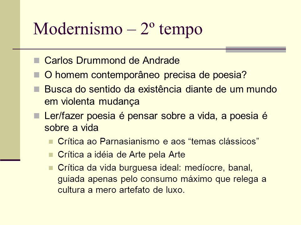 Modernismo – 2º tempo Carlos Drummond de Andrade O homem contemporâneo precisa de poesia? Busca do sentido da existência diante de um mundo em violent