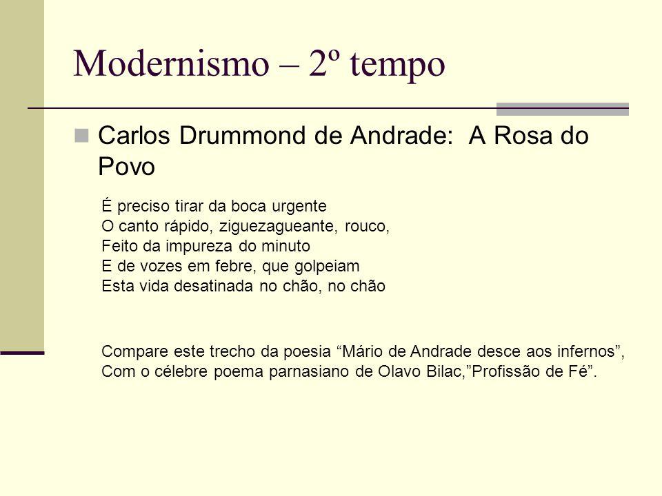 Modernismo – 2º tempo Carlos Drummond de Andrade: A Rosa do Povo É preciso tirar da boca urgente O canto rápido, ziguezagueante, rouco, Feito da impur