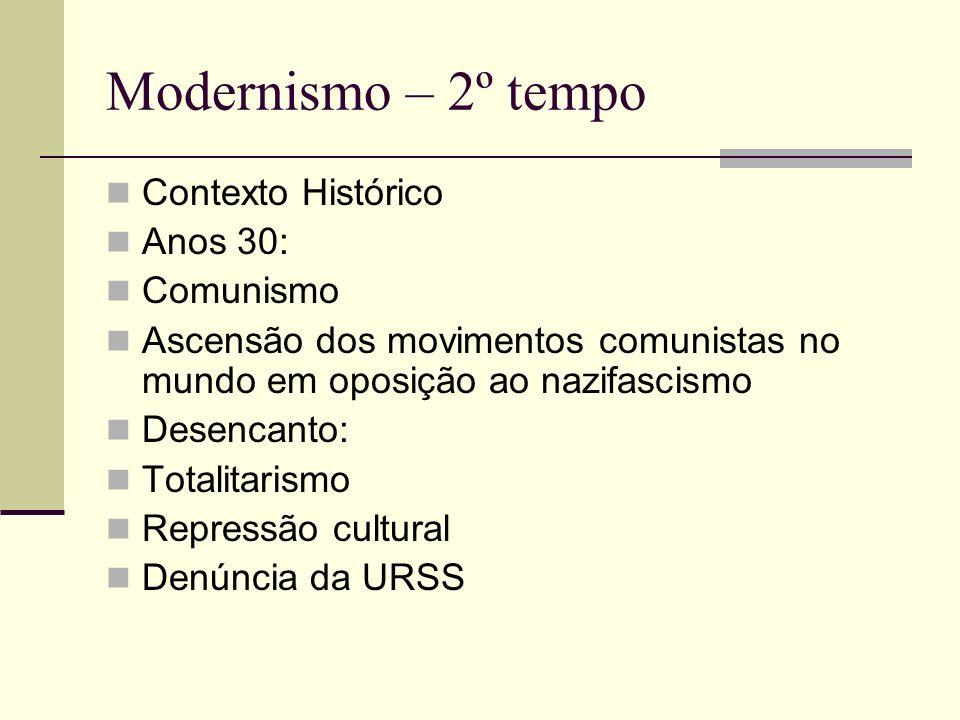 Modernismo – 2º tempo Contexto Histórico Anos 30: Comunismo Ascensão dos movimentos comunistas no mundo em oposição ao nazifascismo Desencanto: Totali
