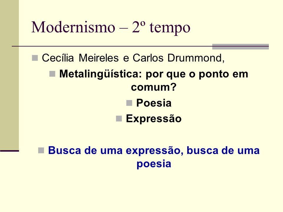 Modernismo – 2º tempo Cecília Meireles e Carlos Drummond, Metalingüística: por que o ponto em comum? Poesia Expressão Busca de uma expressão, busca de