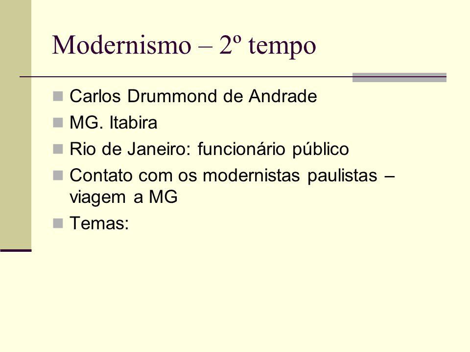 Modernismo – 2º tempo Carlos Drummond de Andrade MG. Itabira Rio de Janeiro: funcionário público Contato com os modernistas paulistas – viagem a MG Te