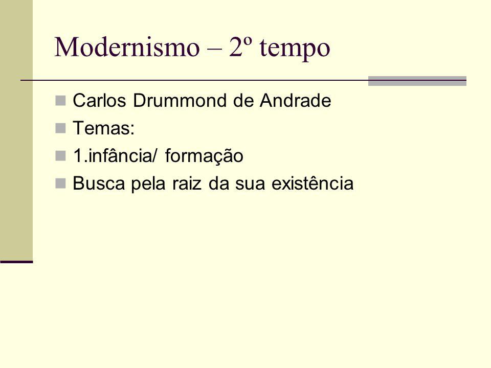 Modernismo – 2º tempo Carlos Drummond de Andrade Temas: 1.infância/ formação Busca pela raiz da sua existência
