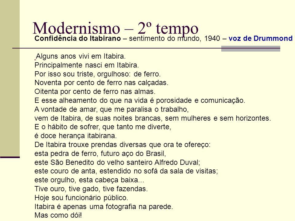 Modernismo – 2º tempo Confidência do Itabirano – sentimento do mundo, 1940 – voz de Drummond Alguns anos vivi em Itabira. Principalmente nasci em Itab