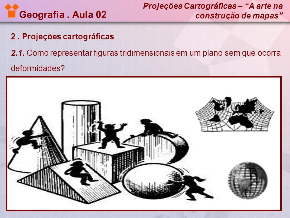 Geografia. Aula 02 2. Projeções cartográficas 2.1. Como representar figuras tridimensionais em um plano sem que ocorra deformidades? Projeções Cartogr