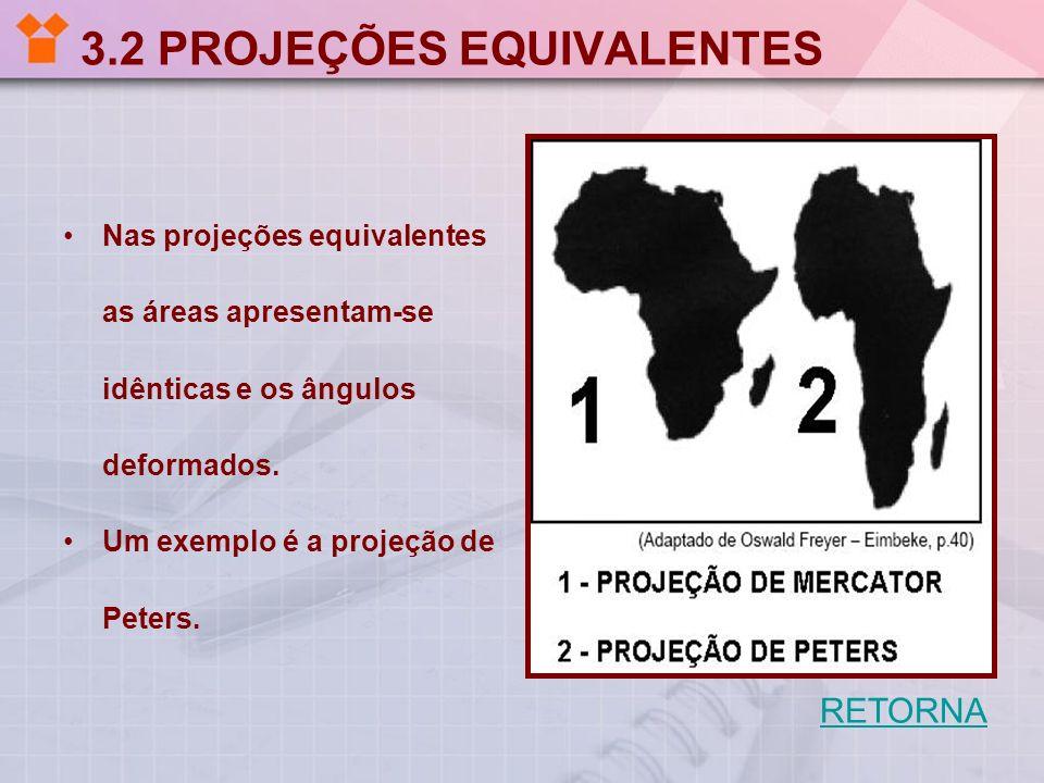 3.2 PROJEÇÕES EQUIVALENTES Nas projeções equivalentes as áreas apresentam-se idênticas e os ângulos deformados. Um exemplo é a projeção de Peters. RET
