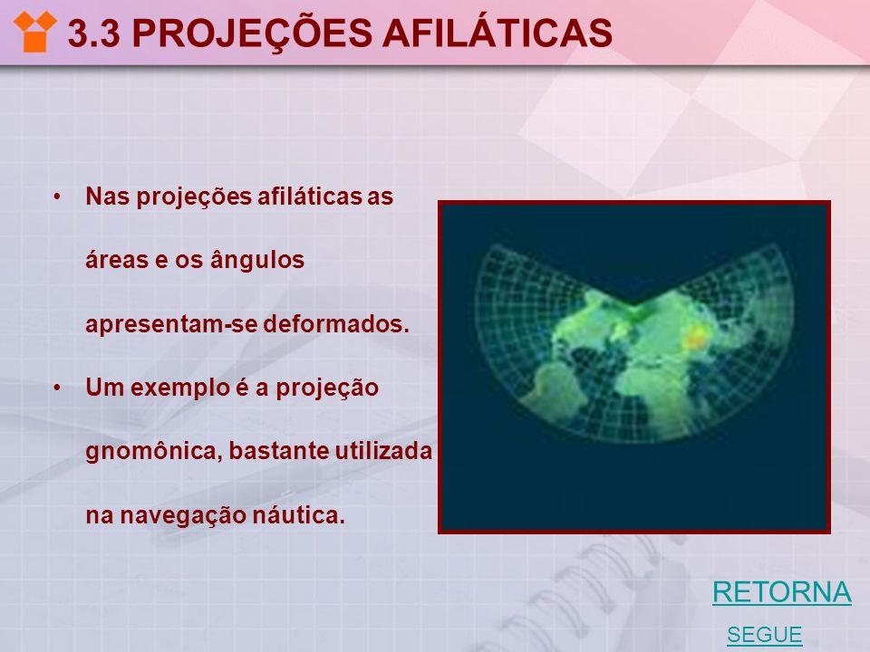 3.3 PROJEÇÕES AFILÁTICAS Nas projeções afiláticas as áreas e os ângulos apresentam-se deformados. Um exemplo é a projeção gnomônica, bastante utilizad