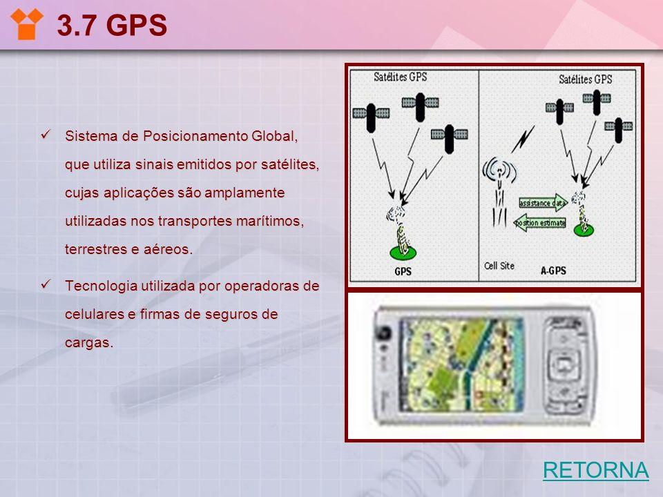 3.7 GPS Sistema de Posicionamento Global, que utiliza sinais emitidos por satélites, cujas aplicações são amplamente utilizadas nos transportes maríti
