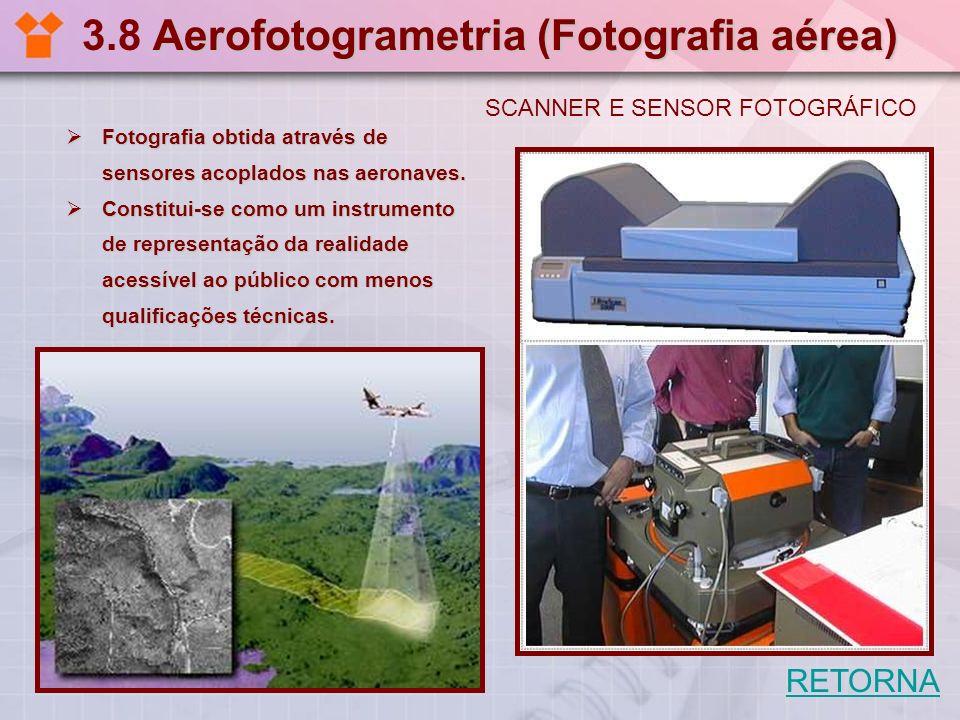 Aerofotogrametria (Fotografia aérea) 3.8 Aerofotogrametria (Fotografia aérea) Fotografia obtida através de sensores acoplados nas aeronaves. Fotografi