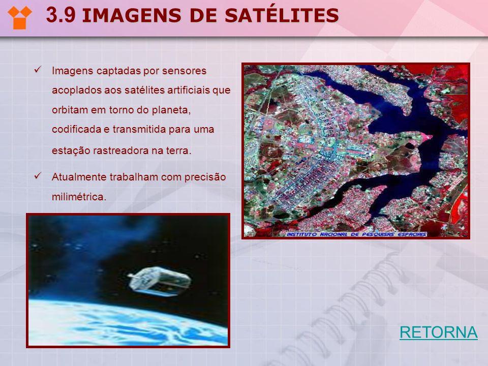IMAGENS DE SATÉLITES 3.9 IMAGENS DE SATÉLITES Imagens captadas por sensores acoplados aos satélites artificiais que orbitam em torno do planeta, codif