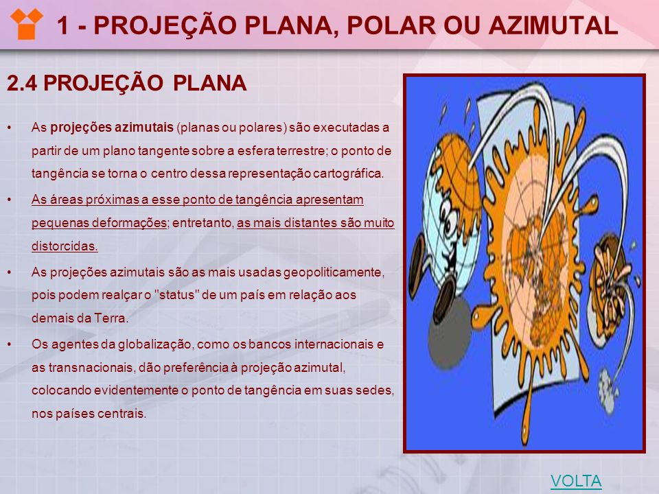 1 - PROJEÇÃO PLANA, POLAR OU AZIMUTAL 2.4 PROJEÇÃO PLANA As projeções azimutais (planas ou polares) são executadas a partir de um plano tangente sobre