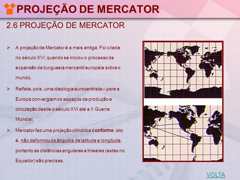 2.7 VANTAGENS E LIMITAÇÕES DA PROJEÇÃO DE MERCATOR VANTAGENS DA PROJEÇÃO DE MERCATOR 1.Os meridianos são representados por linhas retas, os paralelos e o equador são representados por um segundo sistema de linhas retas, perpendicular à família de linhas que representam os meridianos.