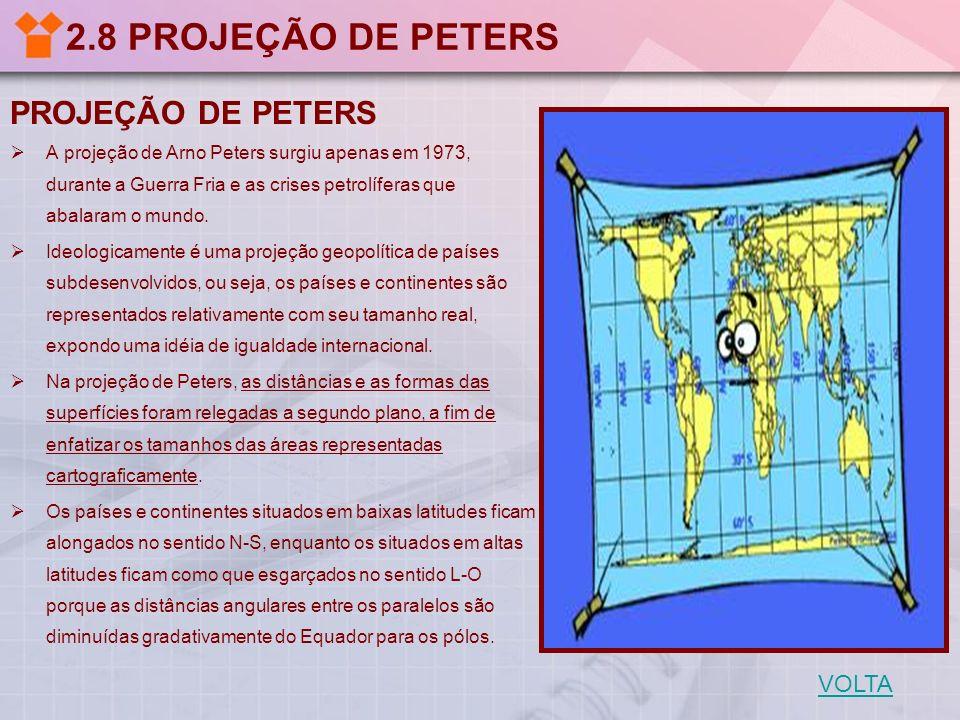 2.8 PROJEÇÃO DE PETERS PROJEÇÃO DE PETERS A projeção de Arno Peters surgiu apenas em 1973, durante a Guerra Fria e as crises petrolíferas que abalaram
