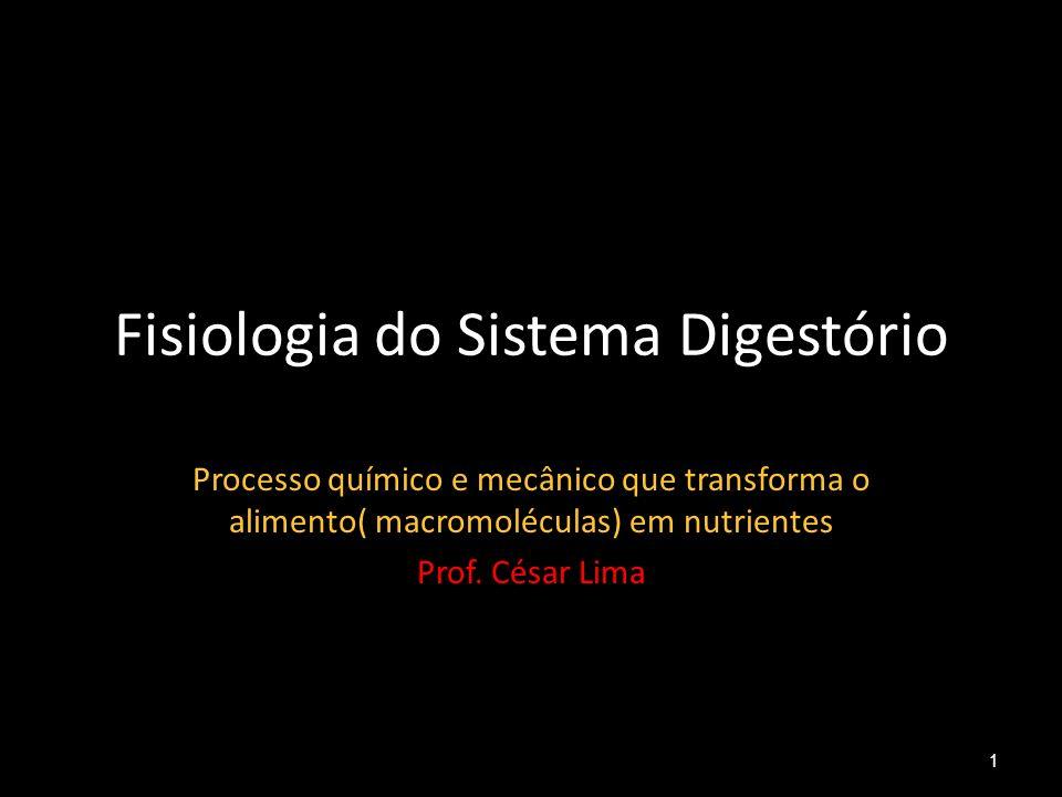 Fisiologia do Sistema Digestório Processo químico e mecânico que transforma o alimento( macromoléculas) em nutrientes Prof. César Lima 1