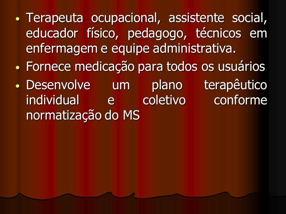 Terapeuta ocupacional, assistente social, educador físico, pedagogo, técnicos em enfermagem e equipe administrativa. Terapeuta ocupacional, assistente