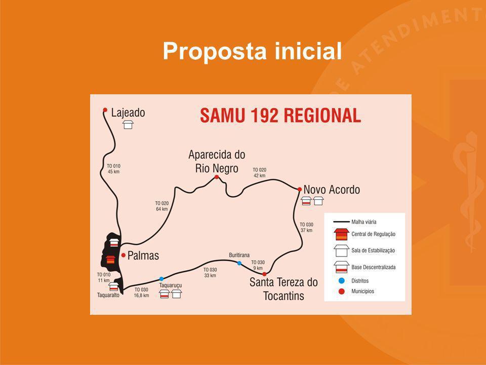 SAMU 192 Regional PREFEITURA MUNICIPAL DE PALMAS SECRETARIA DA SAÚDE Proposta atual