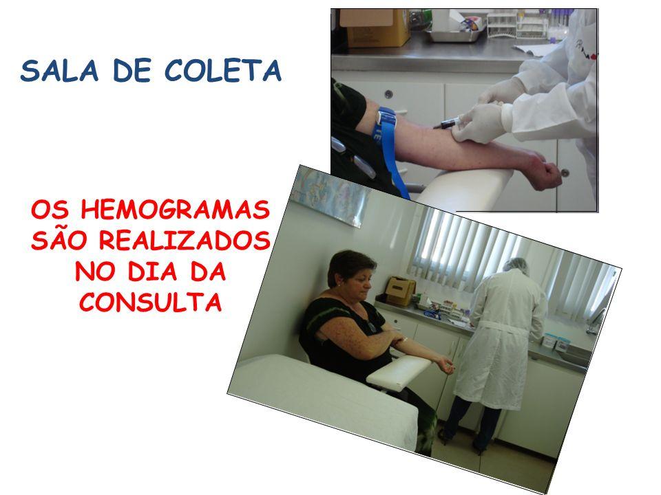 SALA DE COLETA OS HEMOGRAMAS SÃO REALIZADOS NO DIA DA CONSULTA