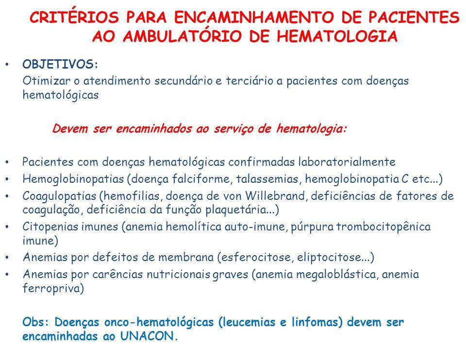 CRITÉRIOS PARA ENCAMINHAMENTO DE PACIENTES AO AMBULATÓRIO DE HEMATOLOGIA OBJETIVOS: Otimizar o atendimento secundário e terciário a pacientes com doenças hematológicas Devem ser encaminhados ao serviço de hematologia: Pacientes com doenças hematológicas confirmadas laboratorialmente Hemoglobinopatias (doença falciforme, talassemias, hemoglobinopatia C etc...) Coagulopatias (hemofilias, doença de von Willebrand, deficiências de fatores de coagulação, deficiência da função plaquetária...) Citopenias imunes (anemia hemolítica auto-imune, púrpura trombocitopênica imune) Anemias por defeitos de membrana (esferocitose, eliptocitose...) Anemias por carências nutricionais graves (anemia megaloblástica, anemia ferropriva) Obs: Doenças onco-hematológicas (leucemias e linfomas) devem ser encaminhadas ao UNACON.