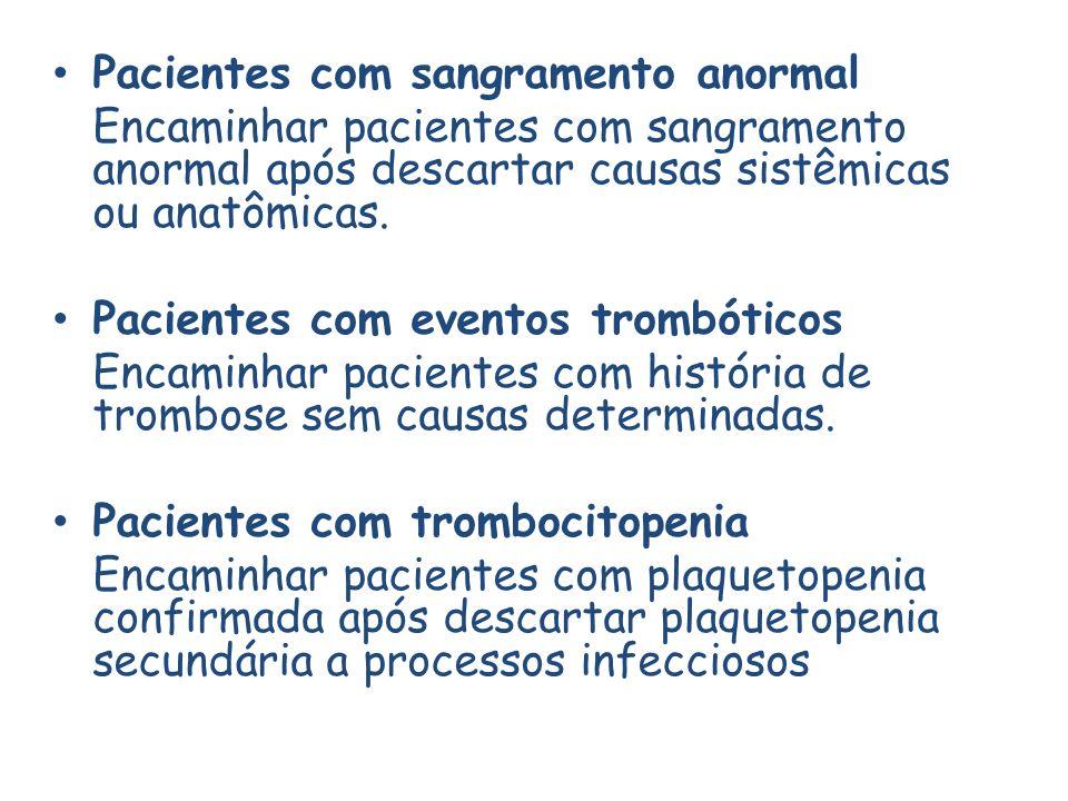 Pacientes com sangramento anormal Encaminhar pacientes com sangramento anormal após descartar causas sistêmicas ou anatômicas.