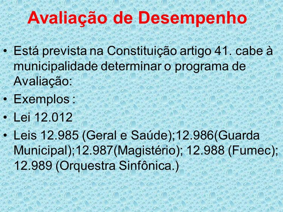 Avaliação de Desempenho Está prevista na Constituição artigo 41. cabe à municipalidade determinar o programa de Avaliação: Exemplos : Lei 12.012 Leis