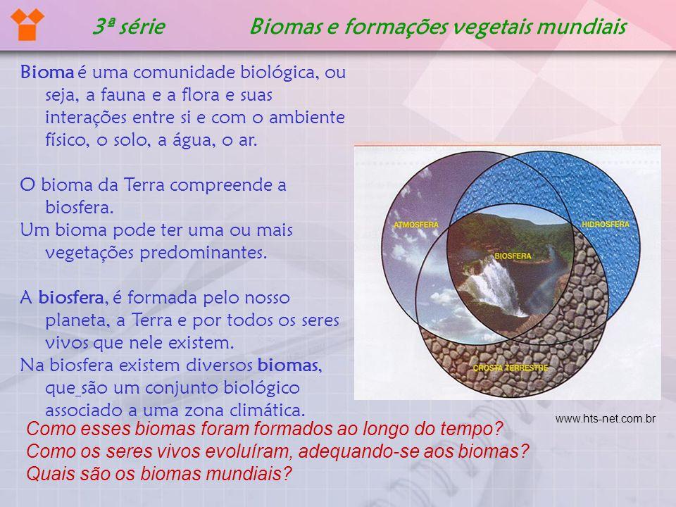 3ª série Biomas e formações vegetais mundiais Bioma é uma comunidade biológica, ou seja, a fauna e a flora e suas interações entre si e com o ambiente
