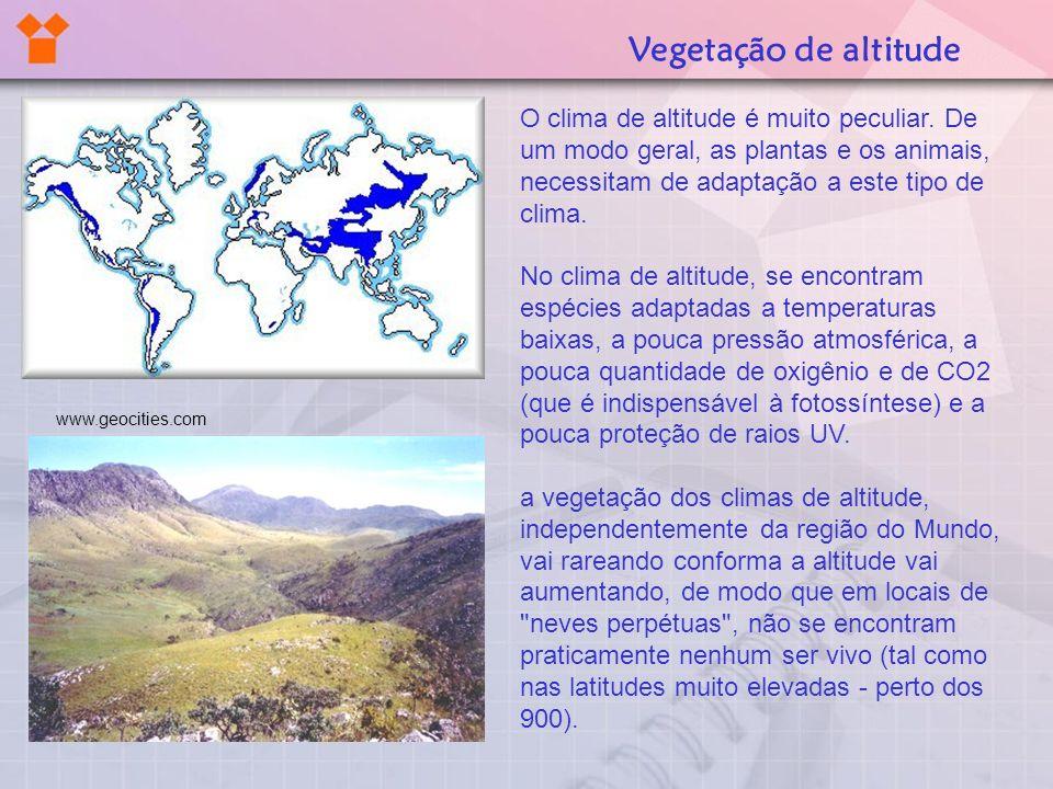 O clima de altitude é muito peculiar. De um modo geral, as plantas e os animais, necessitam de adaptação a este tipo de clima. No clima de altitude, s