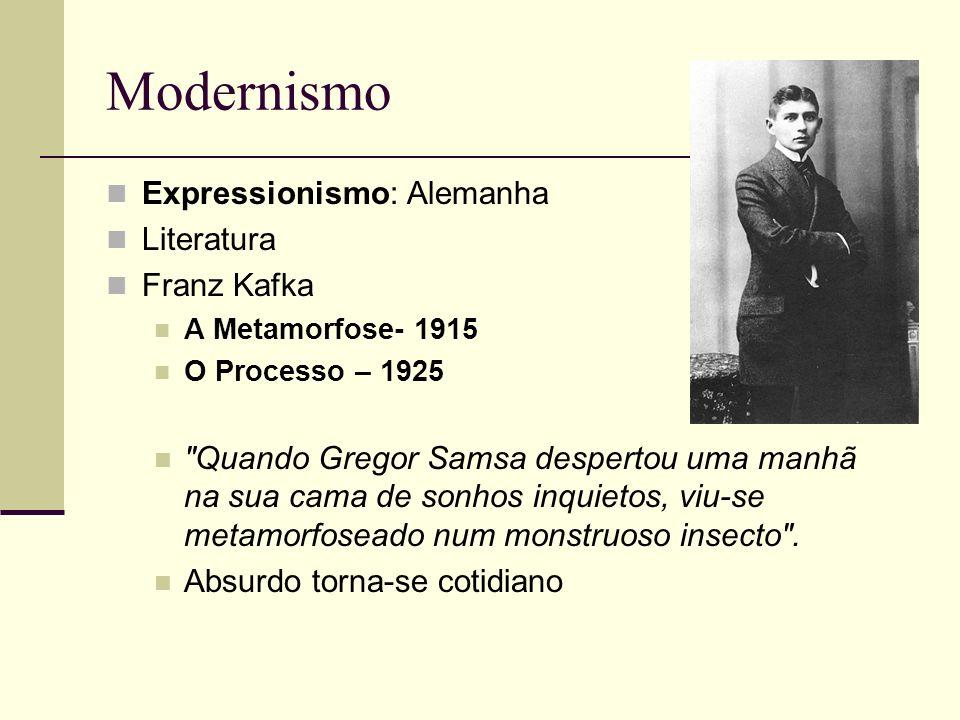 Expressionismo: Alemanha Literatura Franz Kafka A Metamorfose- 1915 O Processo – 1925