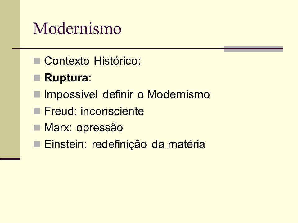 Modernismo Contexto Histórico: Ruptura: Impossível definir o Modernismo Freud: inconsciente Marx: opressão Einstein: redefinição da matéria