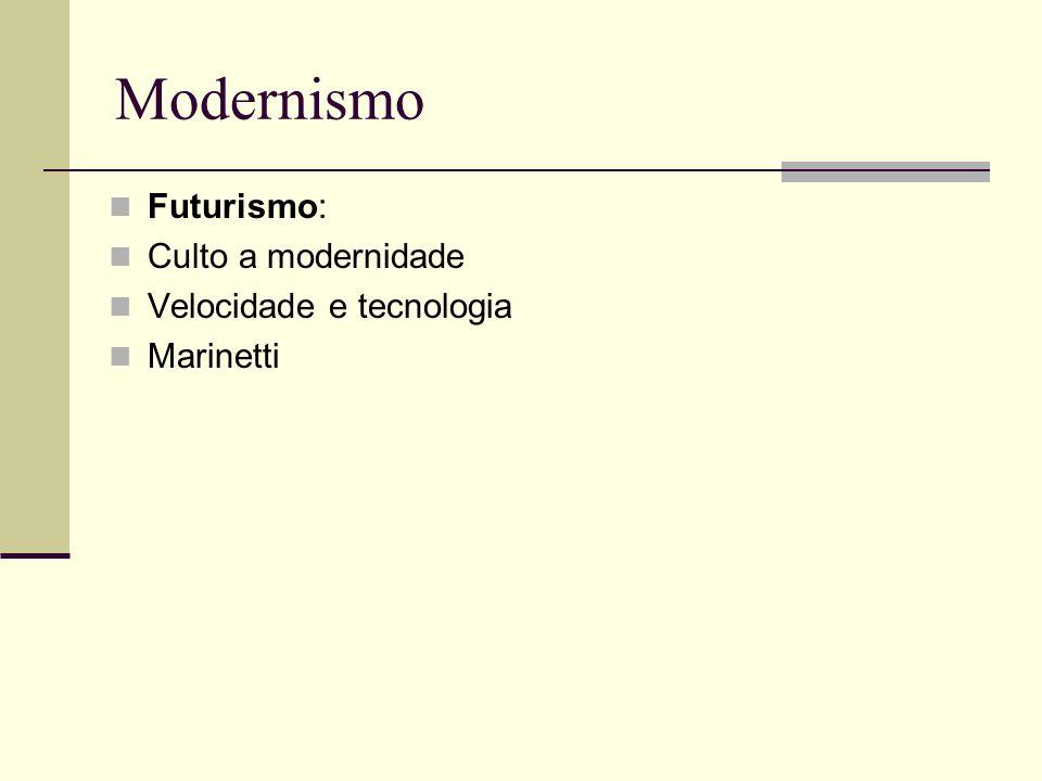 Modernismo Futurismo: Culto a modernidade Velocidade e tecnologia Marinetti