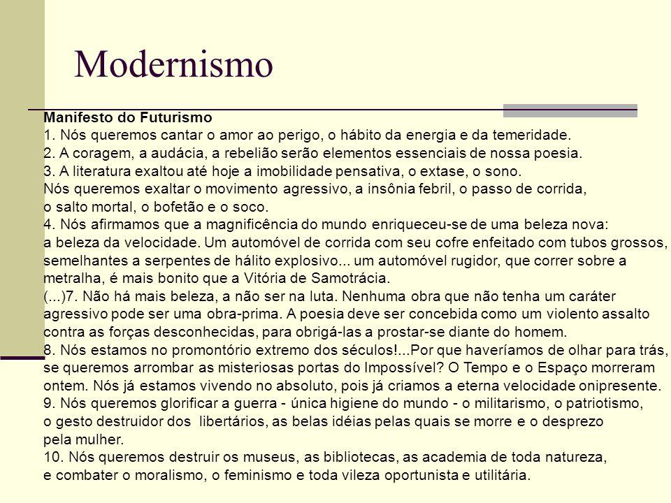 Modernismo Manifesto do Futurismo 1. Nós queremos cantar o amor ao perigo, o hábito da energia e da temeridade. 2. A coragem, a audácia, a rebelião se