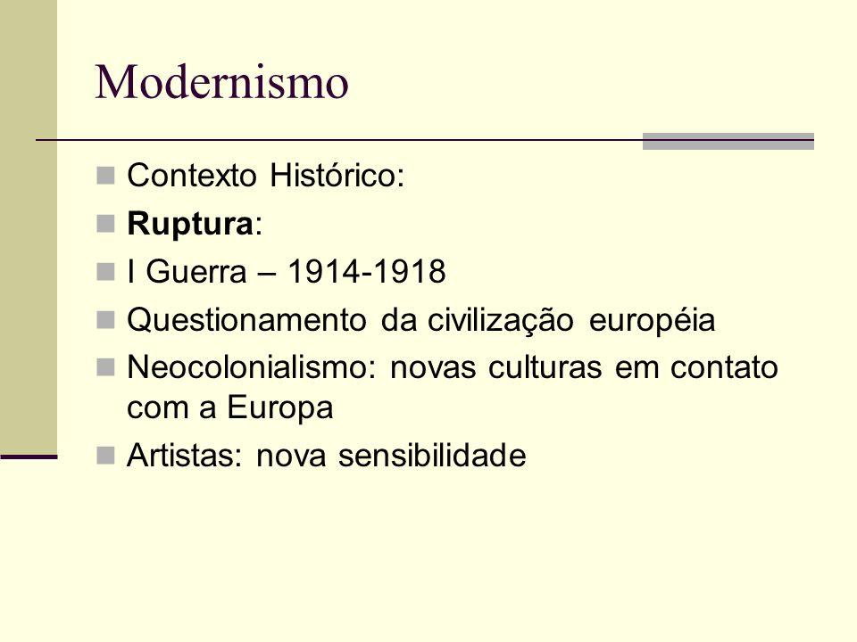 Modernismo Contexto Histórico: Ruptura: I Guerra – 1914-1918 Questionamento da civilização européia Neocolonialismo: novas culturas em contato com a E