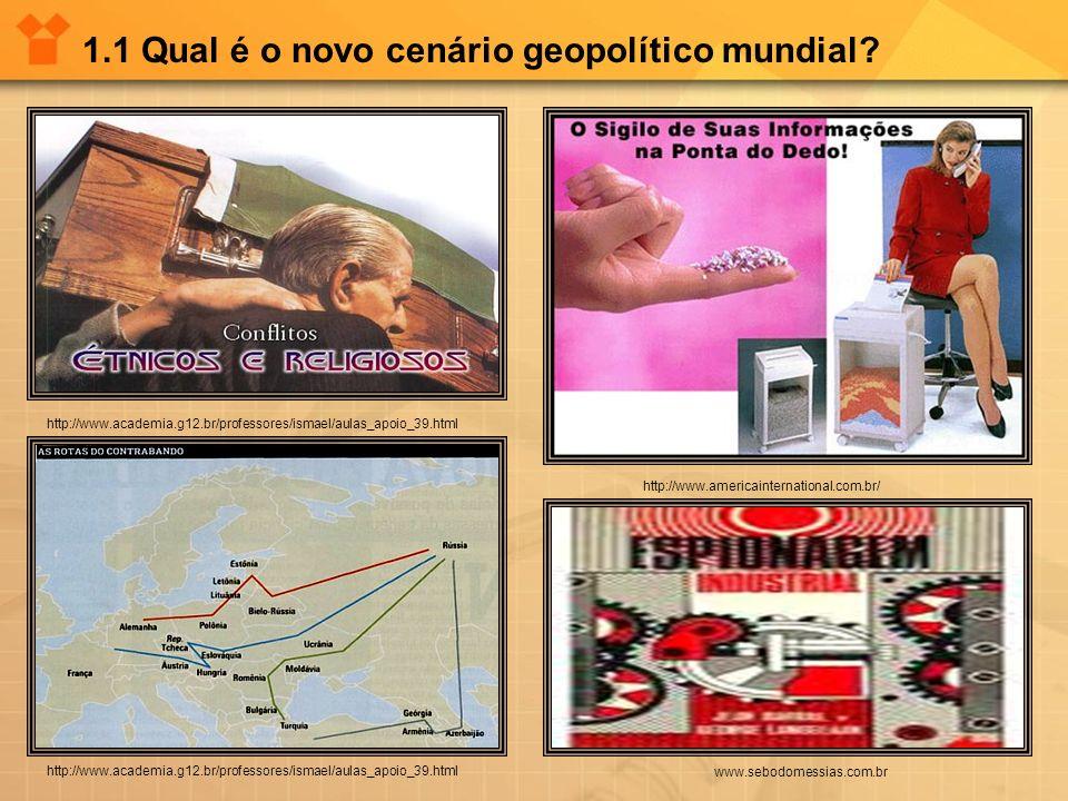 1.1 Qual é o novo cenário geopolítico mundial? http://www.americainternational.com.br/ www.sebodomessias.com.br http://www.academia.g12.br/professores