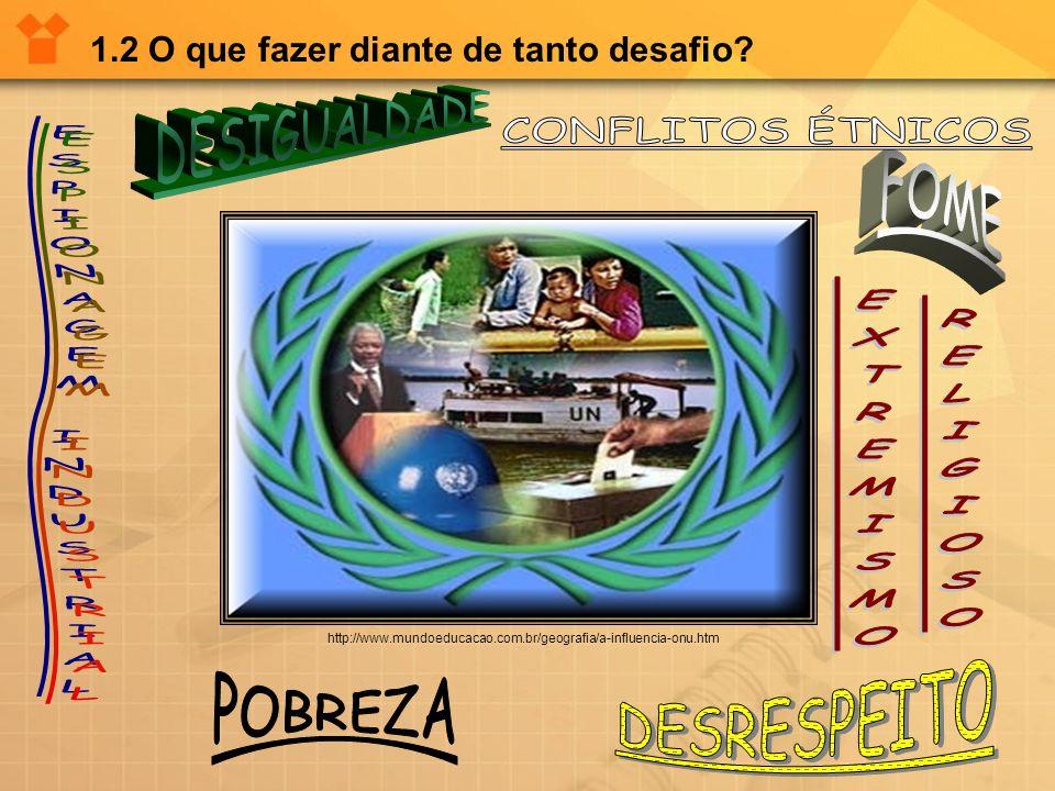 1.2 O que fazer diante de tanto desafio? http://www.mundoeducacao.com.br/geografia/a-influencia-onu.htm