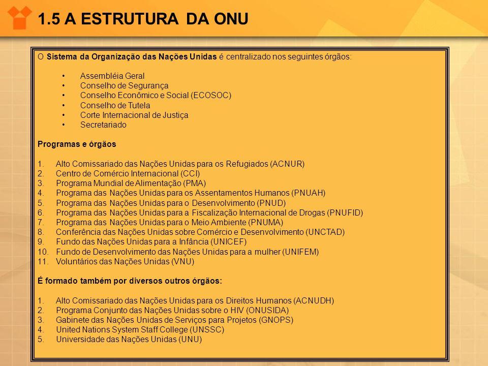 1.5 A ESTRUTURA DA ONU O Sistema da Organização das Nações Unidas é centralizado nos seguintes órgãos: Assembléia Geral Conselho de Segurança Conselho