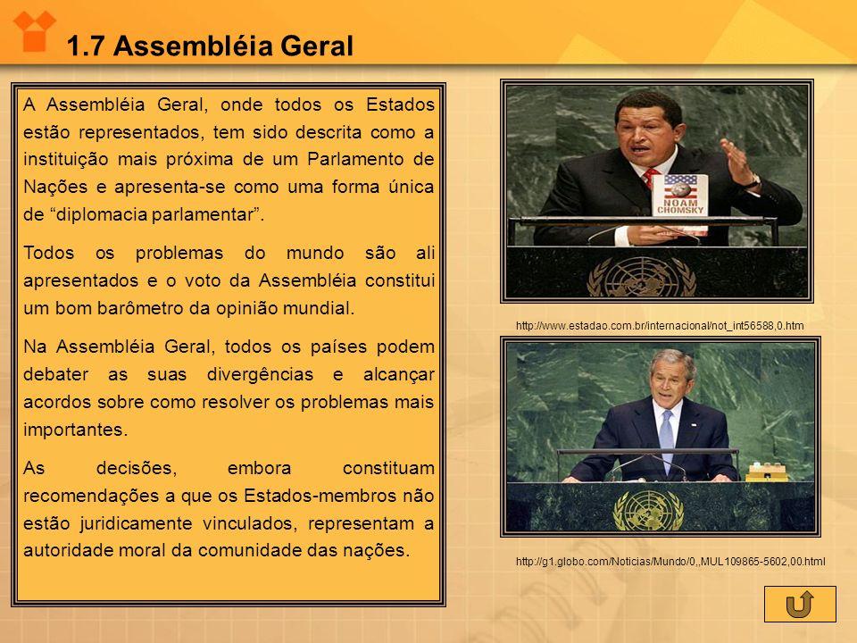1.7 Assembléia Geral A Assembléia Geral, onde todos os Estados estão representados, tem sido descrita como a instituição mais próxima de um Parlamento