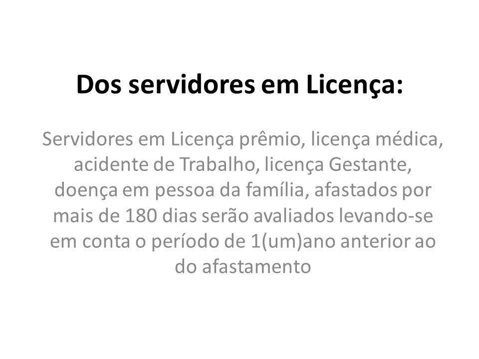 Dos servidores em Licença: Servidores em Licença prêmio, licença médica, acidente de Trabalho, licença Gestante, doença em pessoa da família, afastado