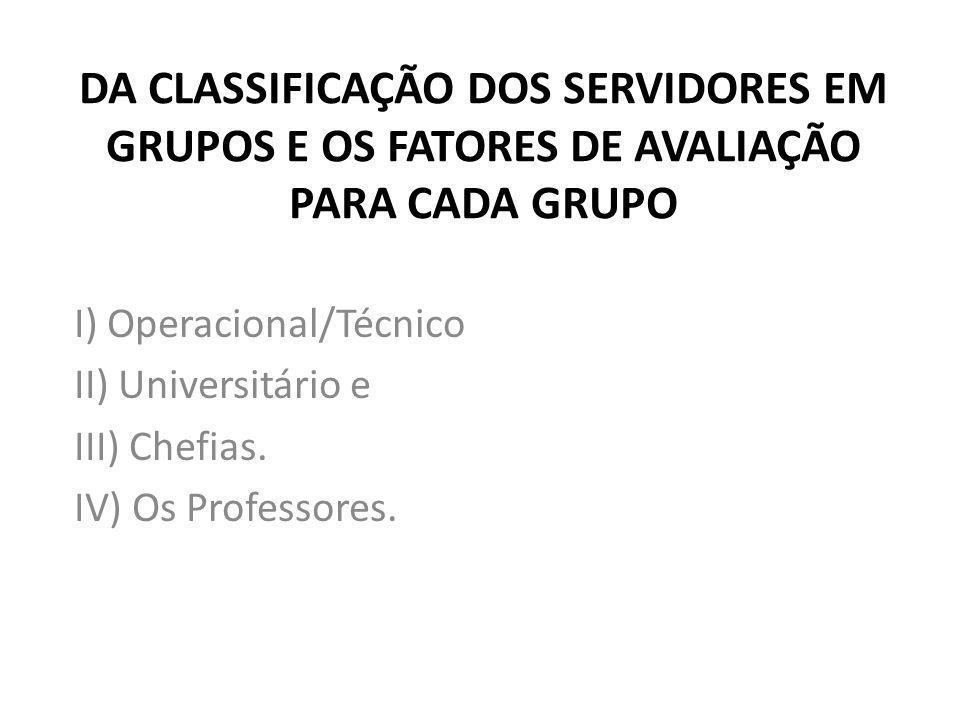DA CLASSIFICAÇÃO DOS SERVIDORES EM GRUPOS E OS FATORES DE AVALIAÇÃO PARA CADA GRUPO I) Operacional/Técnico II) Universitário e III) Chefias. IV) Os Pr