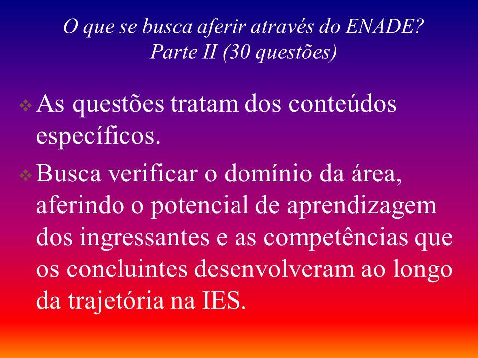 O que se busca aferir através do ENADE? Parte I (10 questões) Conhecimento tácito – Base oculta que subsidia a ação inteligente (Polanyi, 1967; Schön,