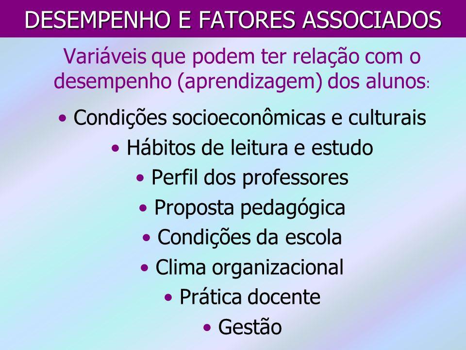 Variáveis que podem ter relação com o desempenho (aprendizagem) dos alunos : Condições socioeconômicas e culturais Hábitos de leitura e estudo Perfil
