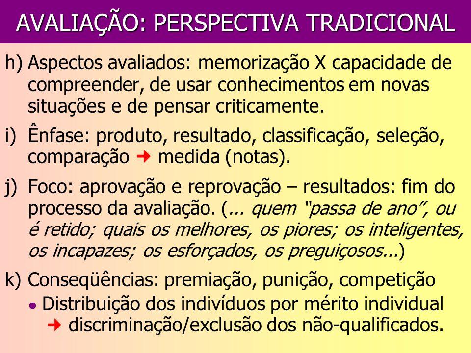 AVALIAÇÃO: PERSPECTIVA TRADICIONAL h)Aspectos avaliados: memorização X capacidade de compreender, de usar conhecimentos em novas situações e de pensar