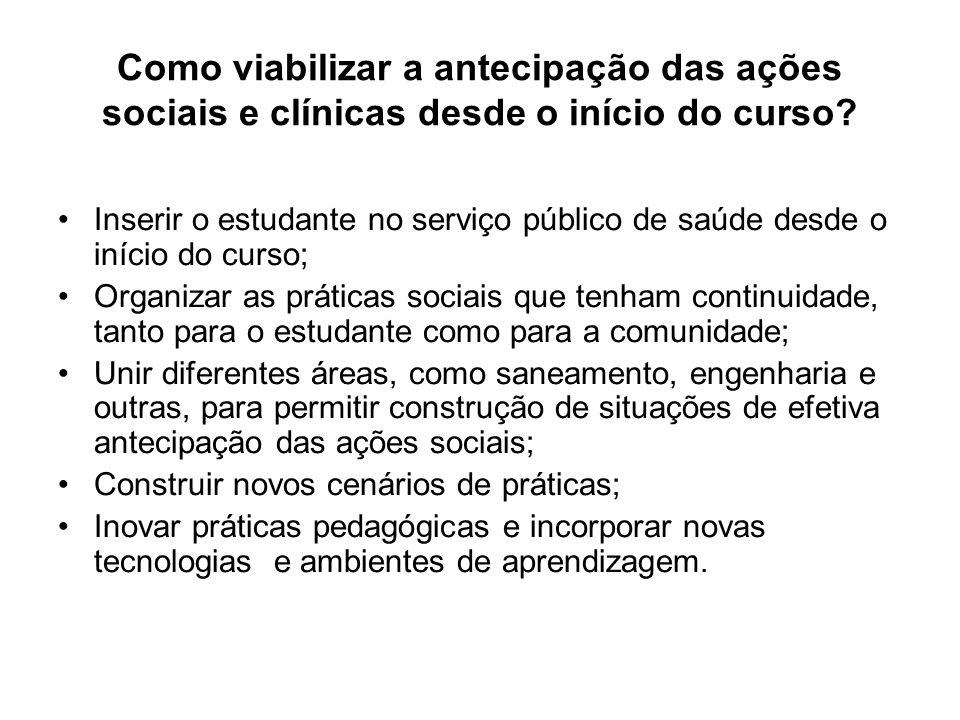 Como viabilizar a antecipação das ações sociais e clínicas desde o início do curso? Inserir o estudante no serviço público de saúde desde o início do