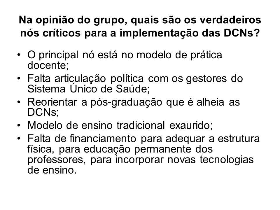 Na opinião do grupo, quais são os verdadeiros nós críticos para a implementação das DCNs? O principal nó está no modelo de prática docente; Falta arti